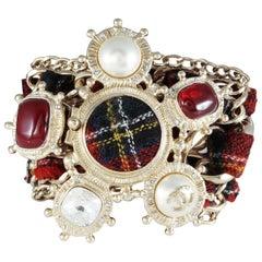 Chanel Red Tartan Embellished Cuff