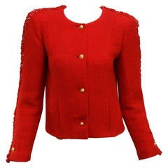 Chanel Red Tweed Cropped Jacket