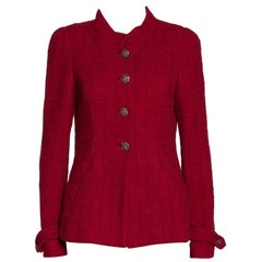 Chanel Red Tweed Stand Collar Jacket M