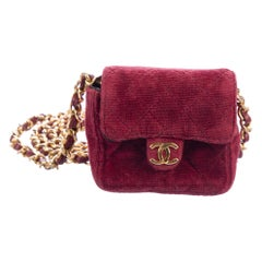 Chanel Red Velvet Gold Small Micro Mini Party Crossbody Shoulder Flap Bag