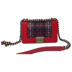 Chanel Red Velvet Quilted Plaid Tweed Paris-Edinburgh Small Boy Bag