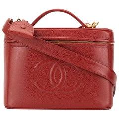 Chanel Red Vintage 90's CC Vanity Case Crossbody Bag