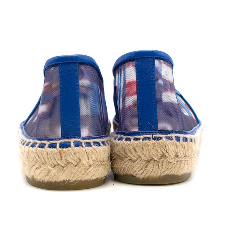 Women's  Chanel Red, White, and Blue Mesh Espadrilles SIZE 37 For Sale