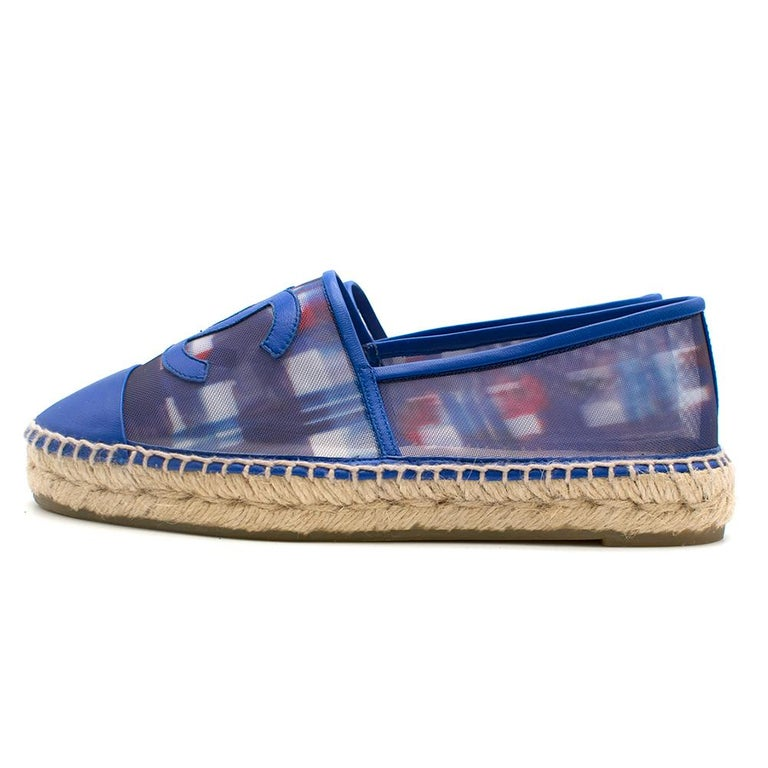 Chanel Red, White, and Blue Mesh Espadrilles SIZE 37 For Sale 1