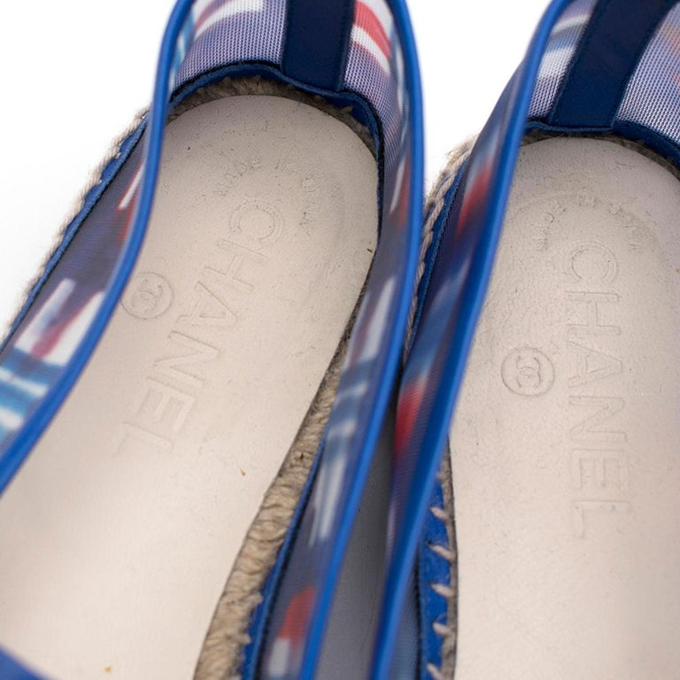 Chanel Red, White, and Blue Mesh Espadrilles SIZE 37 For Sale 2