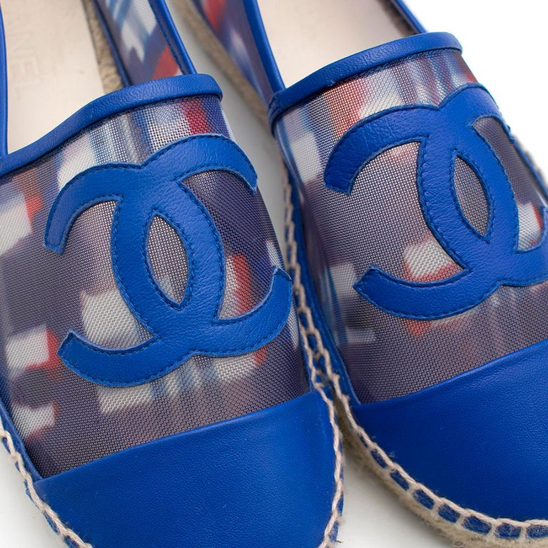 Chanel Red, White, and Blue Mesh Espadrilles SIZE 37 For Sale 3