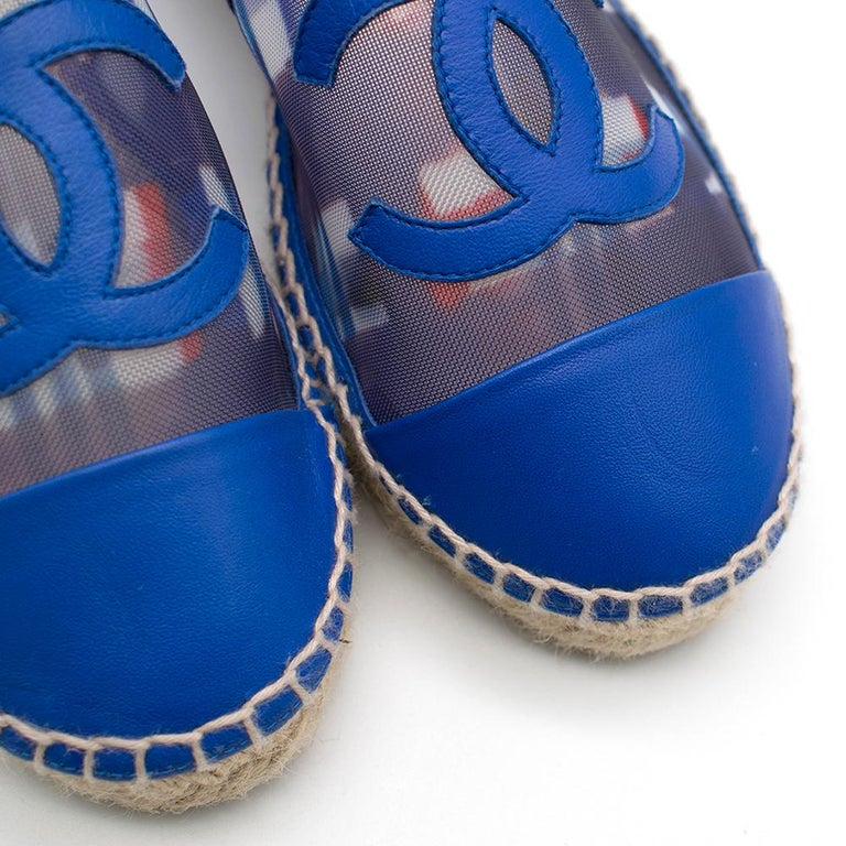 Chanel Red, White, and Blue Mesh Espadrilles SIZE 37 For Sale 4