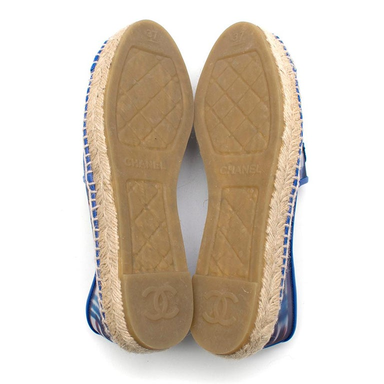 Chanel Red, White, and Blue Mesh Espadrilles SIZE 37 For Sale 5