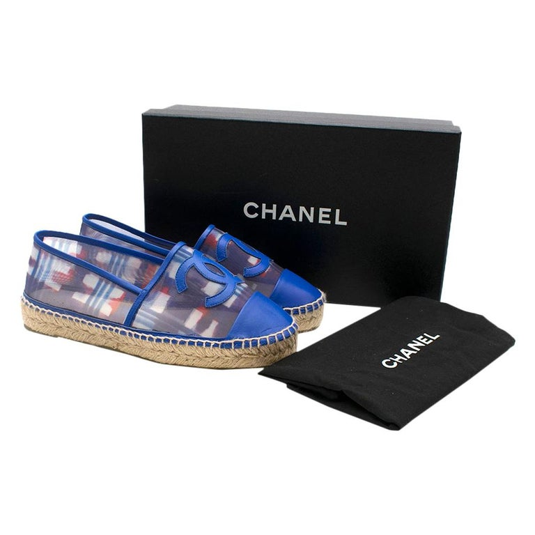 Chanel Red, White, and Blue Mesh Espadrilles SIZE 37 For Sale