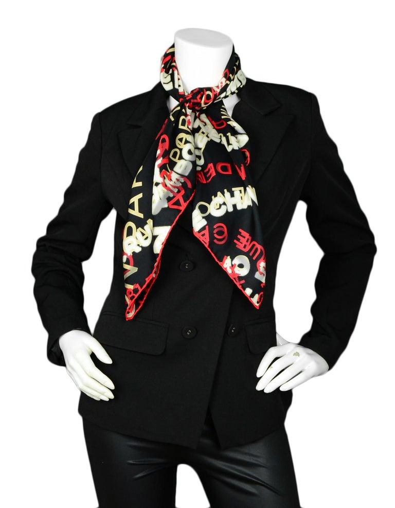 Chanel Red/White/Black Logo Swirl Silk 34