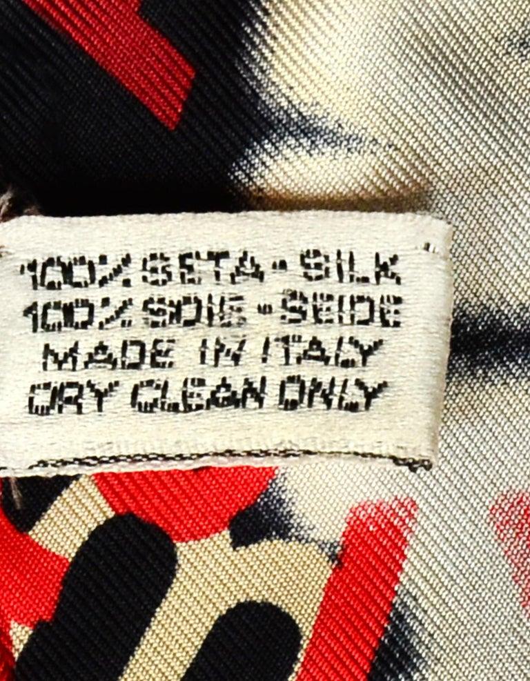 Women's or Men's Chanel Red/White/Black Logo Swirl Silk 34