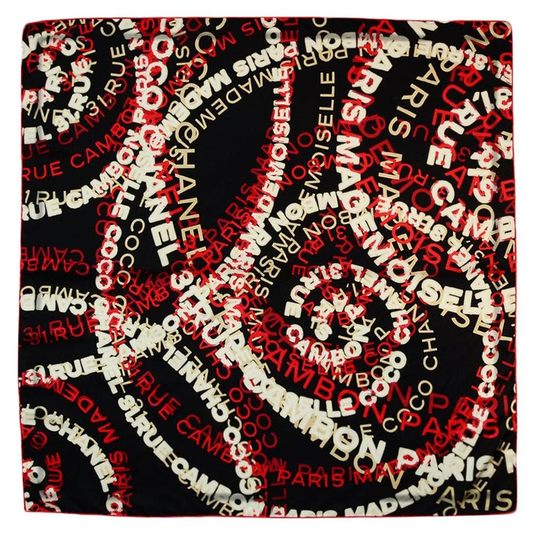 "Chanel Red/White/Black Logo Swirl Silk 34"" Scarf For Sale"