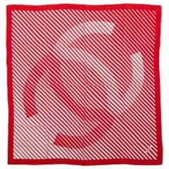 Chanel Red & White Logo Silk Scarf