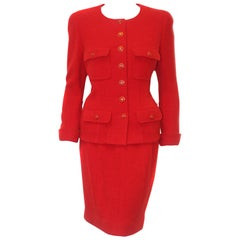 Chanel Red Wool & Silk Four Flap Pockets  Skirt Suit From '95 Fall Collection