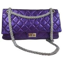 Chanel Reissue 228 Double Flap Metallic Bag Purple