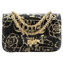 Chanel Reissue 2.55 Flap Bag Graffiti Crocodile Embossed Calfskin Mini