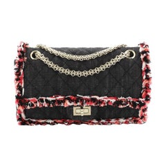 Chanel Reissue 2.55 Flap Bag Quilted Denim with Tweed Fringe 225