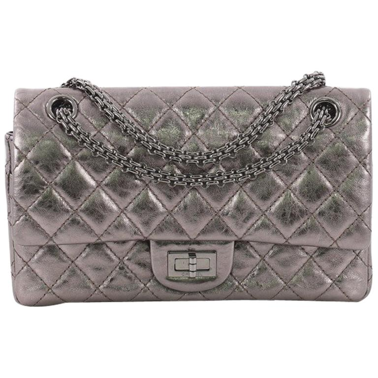 23b52db7d0665b Chanel Reissue 2.55 Handbag Quilted Metallic Aged Calfskin 225 For Sale