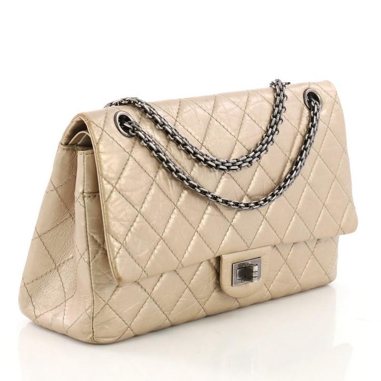 f3a90935fad4 Beige Chanel Reissue 2.55 Handbag Quilted Metallic Aged Calfskin 226 For  Sale