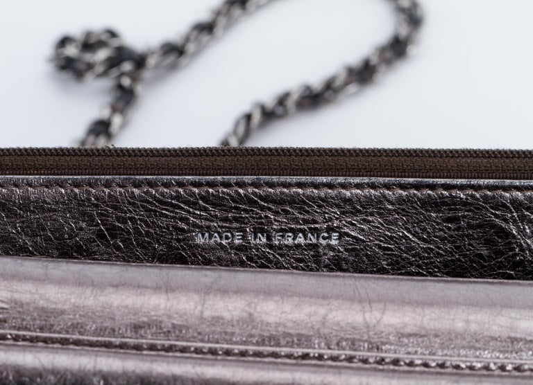 1e667da5cb65 Chanel Reissue Pewter Wallet On A Chain Crossbody Bag For Sale 1