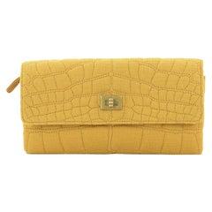 Chanel Reissue Trifold Wallet Crocodile Embossed Jersey Long