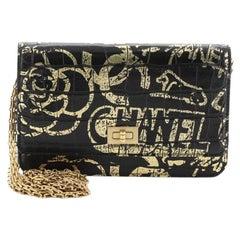 Chanel Reissue Wallet on Chain Graffiti Crocodile Embossed Calfskin