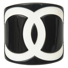 Chanel Resin CC Black and White Wide Cuff Bracelet