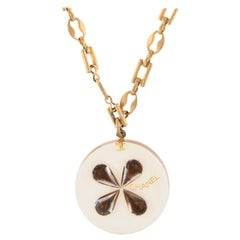 "Chanel Resin Clover Pendant Necklace Yellow Gold Tone 25"" Circa 2001 Cruise"