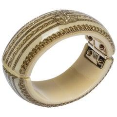 Chanel Resin & Crystal CC Gold Tone Oval Bangle
