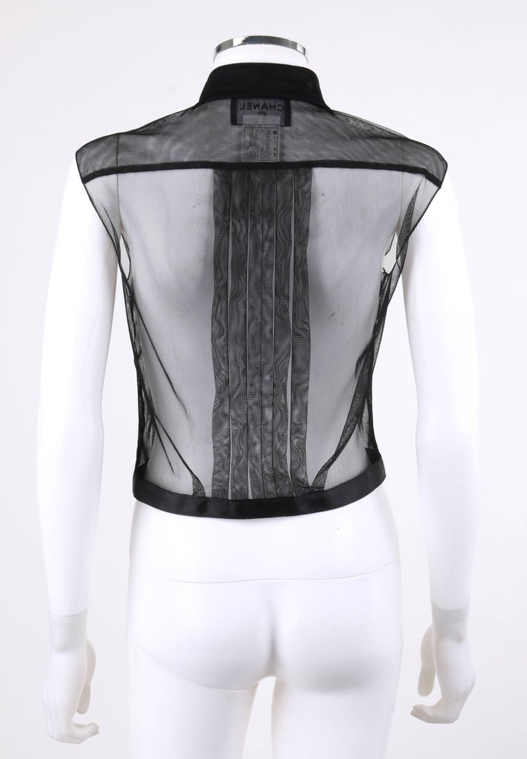 Women's CHANEL Resort 2002 Black Sheer Button Up Pleated Extended Shoulder Blouse For Sale