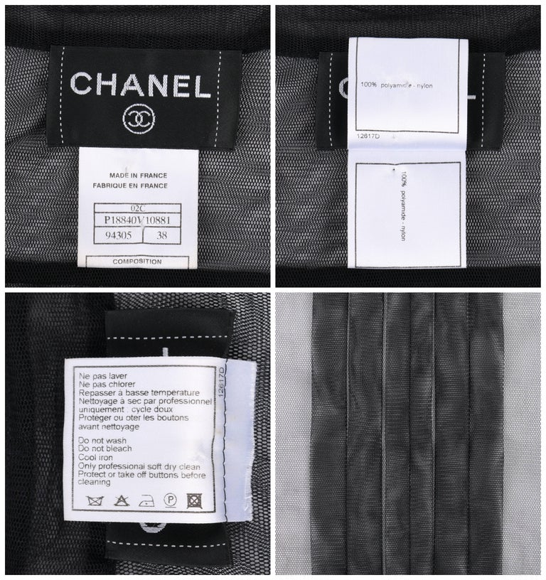 CHANEL Resort 2002 Black Sheer Button Up Pleated Extended Shoulder Blouse For Sale 2