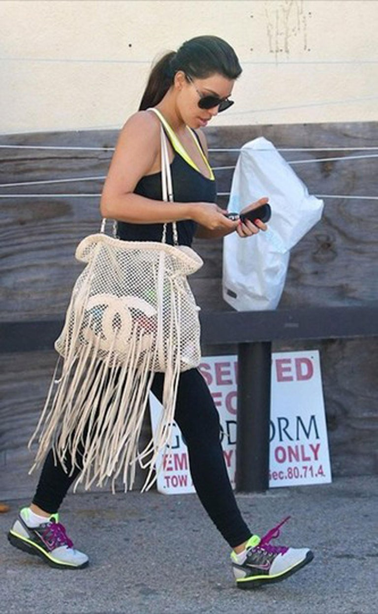 Chanel Resort 2011 Fringe Crochet Woven Mesh Large Beige Leather Tote For Sale 2