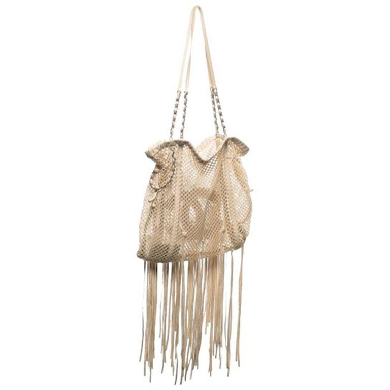 Chanel Resort 2011 Fringe Crochet Woven Mesh Large Beige Leather Tote For Sale 3