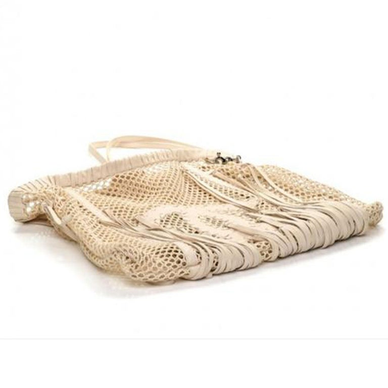 Chanel Resort 2011 Fringe Crochet Woven Mesh Large Beige Leather Tote For Sale 4