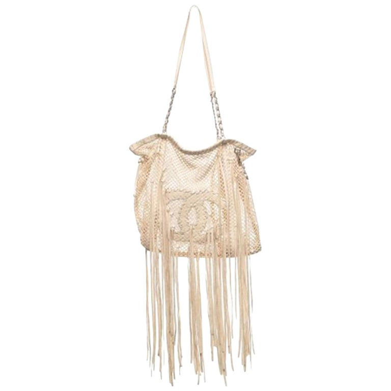 Chanel Resort 2011 Fringe Crochet Woven Mesh Large Beige Leather Tote For Sale
