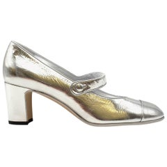 Chanel Resort 2019 Silver Mary Jane Pumps 40