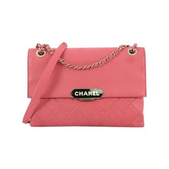 Chanel Retro Label Flap Bag Quilted Lambskin Large