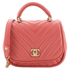 Chanel Reversed Round Flap Bag Chevron Lambskin Mini