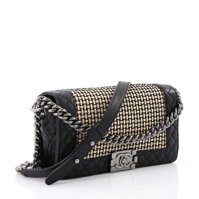 b8655b97c9cfaf Chanel Reverso Boy Flap Bag Woven Calfskin Old Medium For Sale at ...