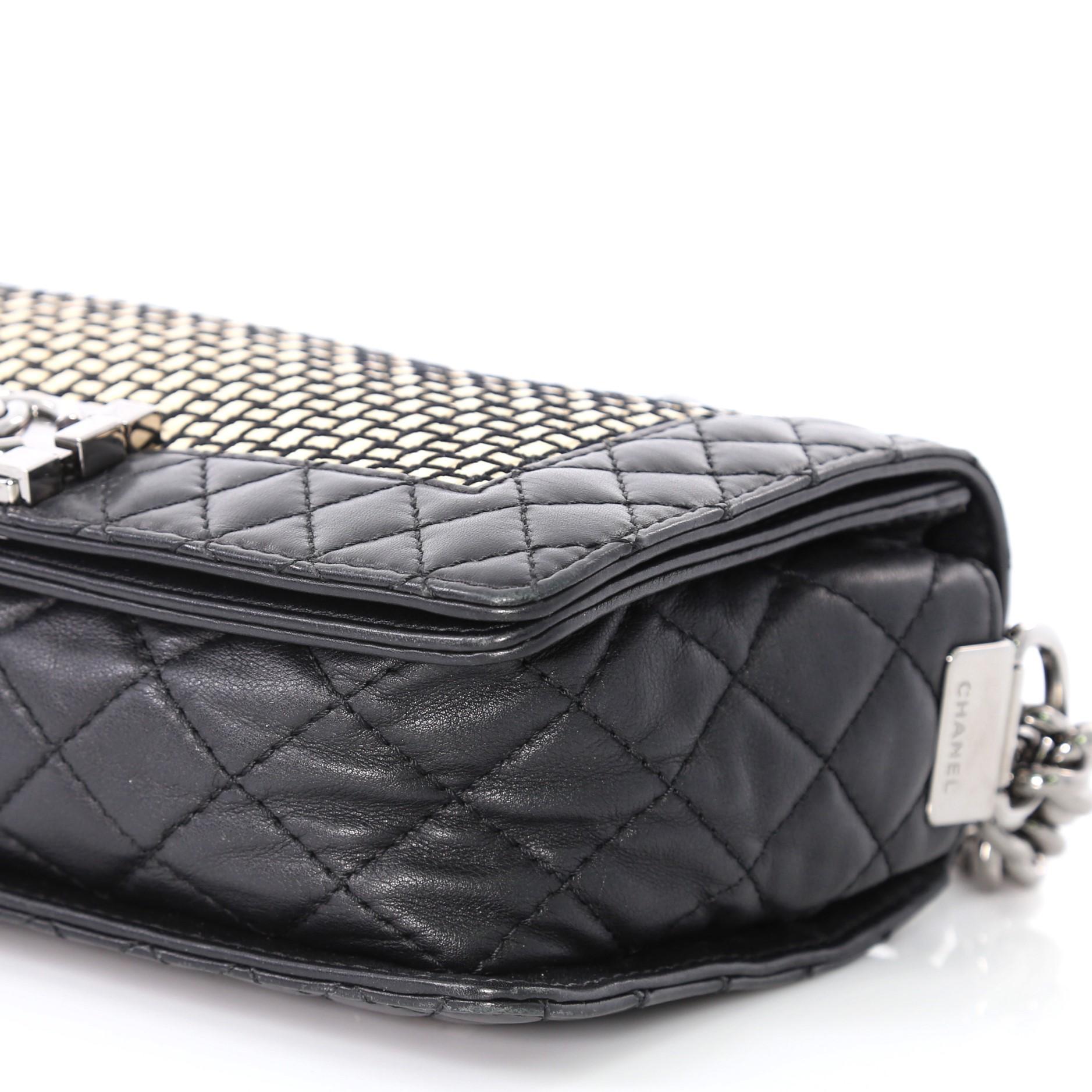 bbaa5f9de6e360 Chanel Reverso Boy Flap Bag Woven Calfskin Old Medium For Sale at 1stdibs