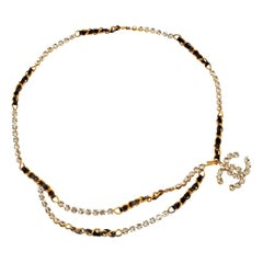 Chanel Rhinestone belt / necklace with Black and Gold Chain