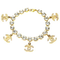 Chanel Rhinestone Bracelet with CC Charms