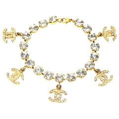 Chanel Rhinestone Bracelet with CC Charms