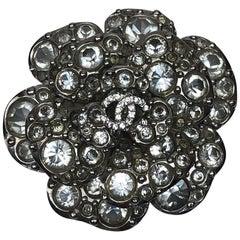 """Chanel rhinestone """"CC"""" Camellia Brooch- Circa 2005"""