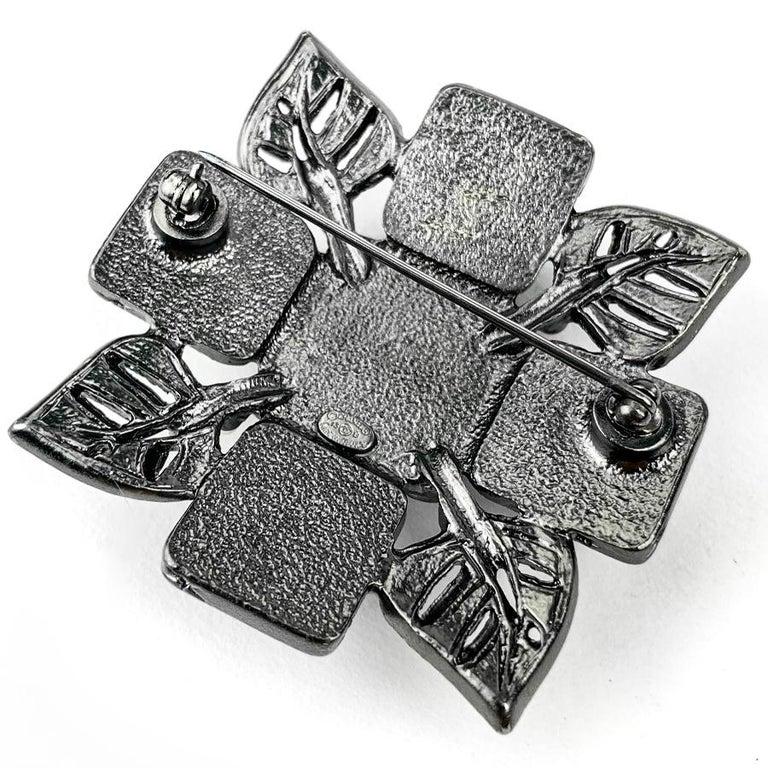 Women's or Men's CHANEL Rhinestone Cross Brooch For Sale