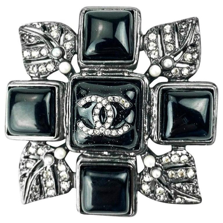 CHANEL Rhinestone Cross Brooch For Sale