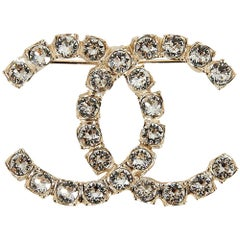 Chanel Rhinestone Double CC Logo Gold Toned Brooch Pin