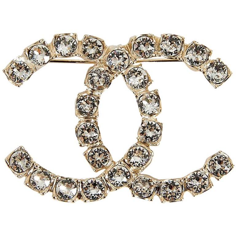 Chanel Rhinestone Double CC Logo Gold Toned Brooch Pin For Sale