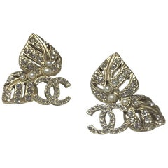 Chanel Rhinestones And Pearl Stud Earrings