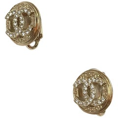 CHANEL Rhinestones Clips Earrings